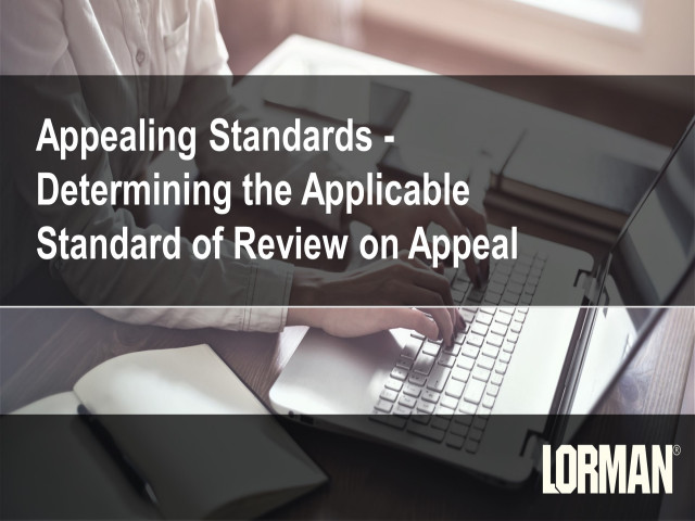 Appealing Standards: Determining the Applicable Standard of Review