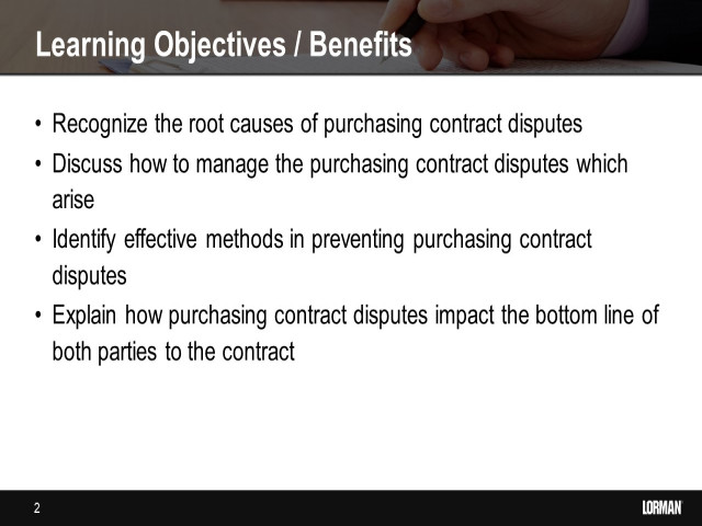 Purchasing Contract Disputes