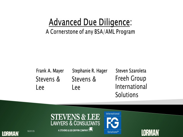 Advanced Due Diligence: A Cornerstone of any BSA/AML Program