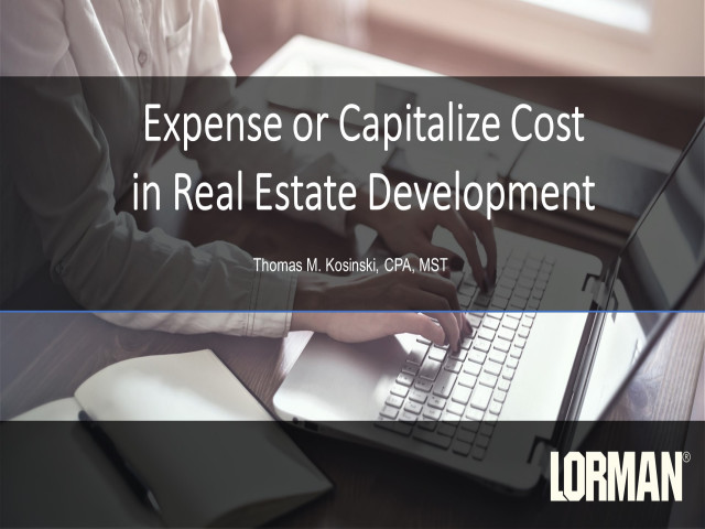 Expense or Capitalize Cost in Real Estate Development
