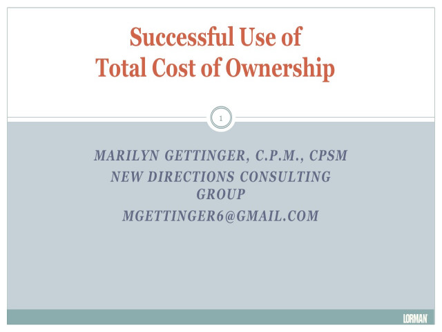 Successful Use of Total Cost of Ownership