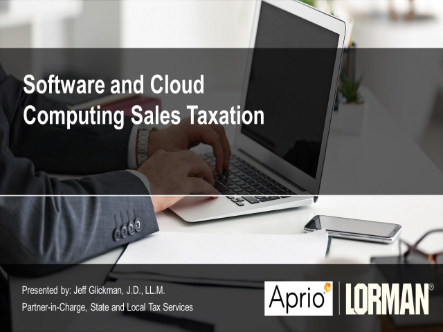 Software and Cloud Computing Sales Taxation
