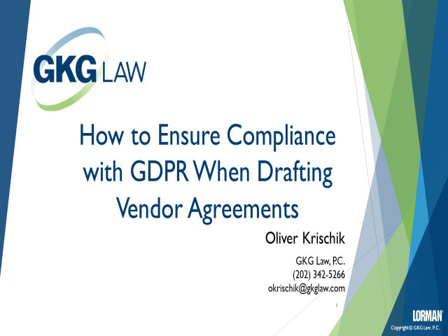 How to Ensure Compliance With GDPR When Drafting Vendor Agreements