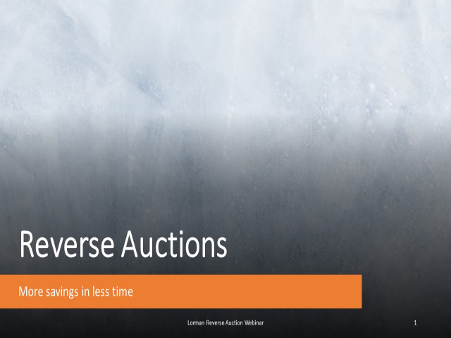 Reverse Auctions: Current Issues and Opportunities