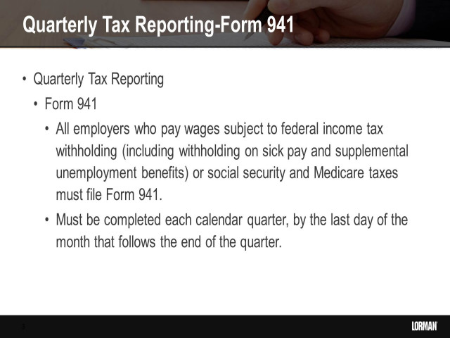 Payroll and IRS Form 941 Update