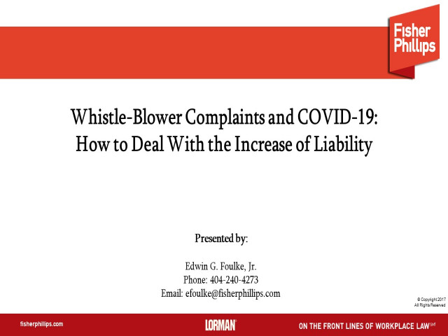 Whistle-Blower Complaints and COVID-19: How to Deal With the Increase of Liability