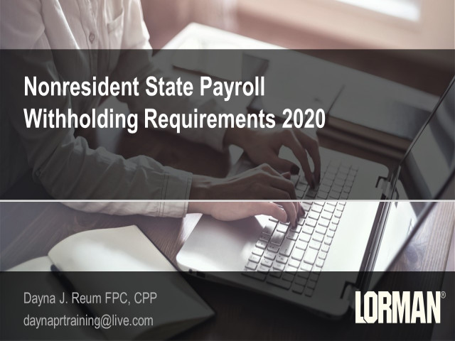 Nonresident Employee Withholding