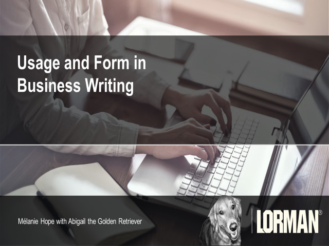 Usage and Form in Business Writing