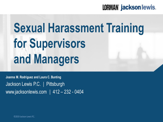 Sexual Harassment Training for Supervisors