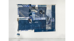 "Fran Siegel, ""Elevation Rig"", 2018 Pigment, pencil, crayon, cyanotype, image transfers, embroidery, and string on cotton scrim (4 densities), denim and canvas. With fabric, wound rope and metal extension. Suspended from aluminum dowel, Size: 86 x 92 x 16 inches"