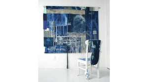 "Fran Siegel, ""Suspension Rig"", 2018 pigment, crayon and cyanotype on cotton scrim (3 densities) tinted vinyl, denim and patterned fabric. With upholstered chair and painted string extension, Size: 82 x 73 x 56 inches"
