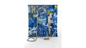 "Fran Siegel, ""Wind Rig"", 2017, pigment, crayon, cyanotype, cotton scrim (3 densities) tinted vinyl, netting, embroidery upholstered fabric. With scrim and fabric extension. Suspended 2"" away from the wall by metal brackets. Size: 82 x 74 x 72 inches"