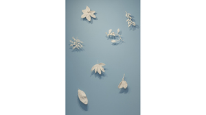 Fran Siegel, Porcelain Leaves, hand-built porcelain leaves mounted on wall, various sizes