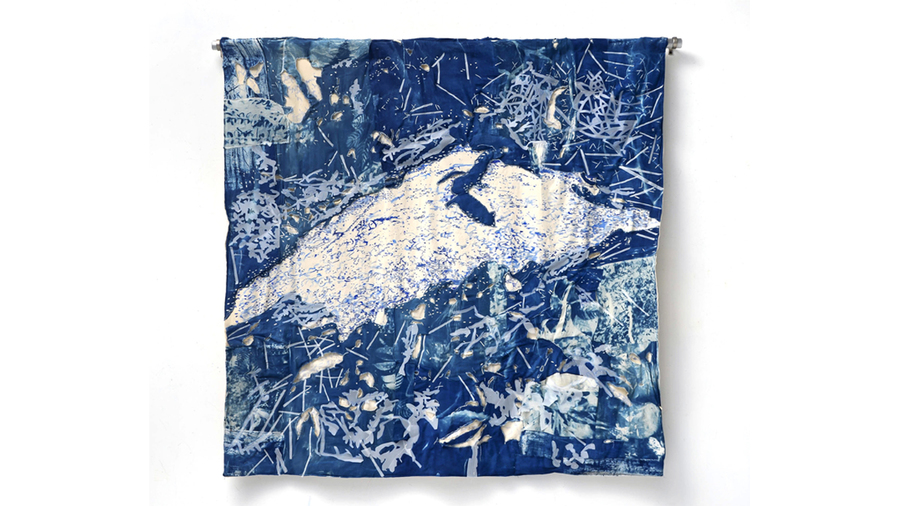 "Fran Siegel, ""Mound"", 2018, Quilted and sewn cyanotype patches on cotton scrim (2 densities) and canvas, pigment, cut drafting film, suspended from aluminum dowel. 