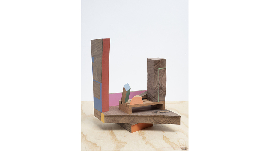 "Jim Osman, ""Deck Too"", 2018, wood, paint, 12 1/2 x 9 x 9 1/2 inches"