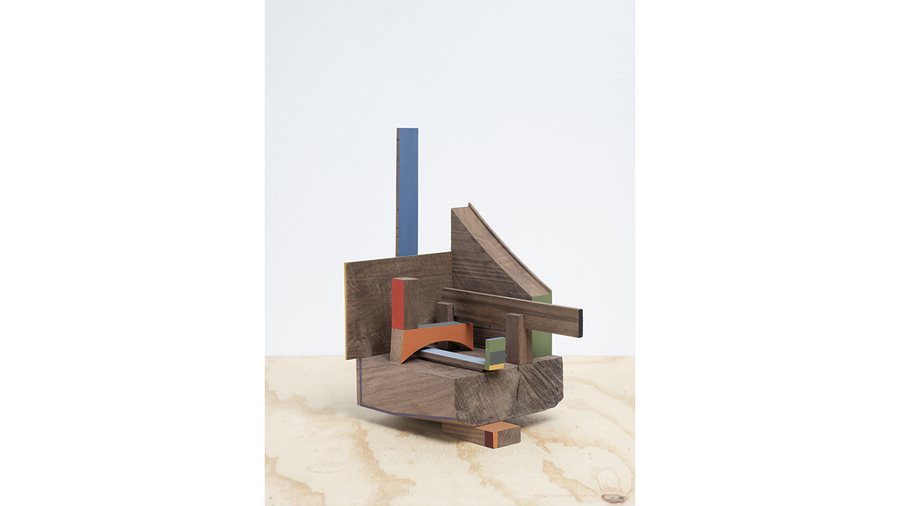 "Jim Osman, ""Here and There Corner"", 2018, wood, paint, 12 x 6 x 10 inches"
