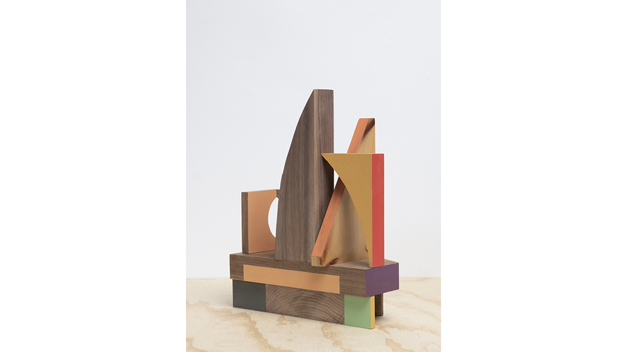 "Jim Osman, ""Orange Alley"", 2018, wood, paint, 13 x 10 1/2 x 4 inches"