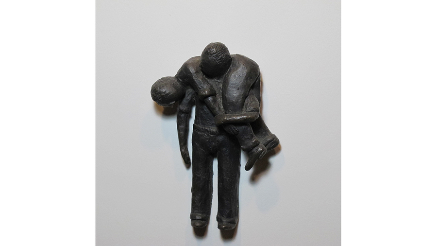 "Carol Saft, ""Fireman's Carry"", 2017, Bronze, 6 x 3.5 x 2 inches"