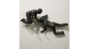 "Carol Saft, ""Kneeling Man"" and ""Sprawling"", 2006, Bronze, 3 x 4 x 2 inches and 4 x 6.5 x 1.5 inches"