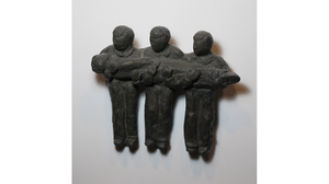 "Carol Saft, ""Three Man Carry"", 2001, Bronze, 6 x 7 x 1.5 inches"