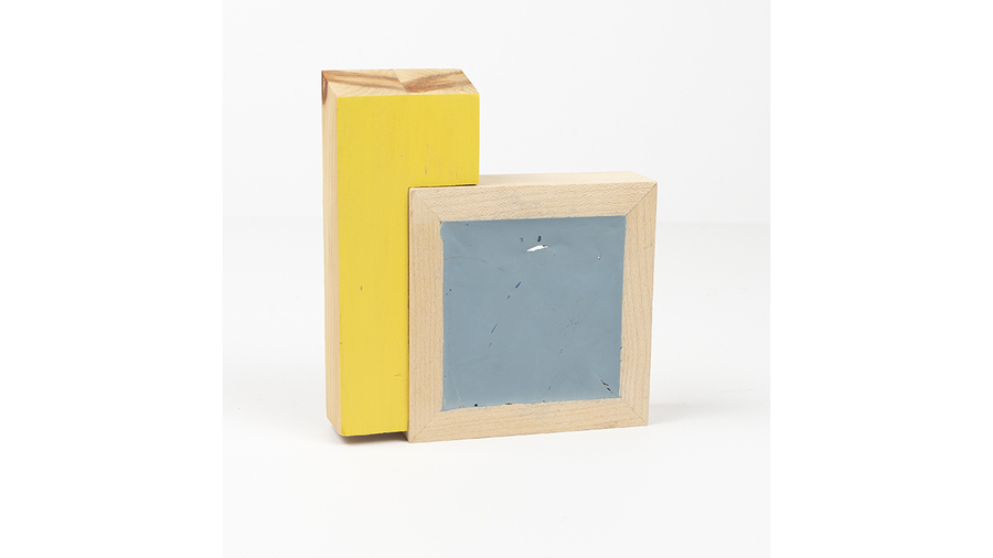 "Jim Osman, ""Start-16"", 2018, wood, paint, 5 3/4 x 5 1/4 x 1 1/4 inches"