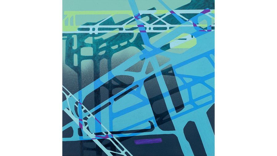 "Tony Ingrisano, ""Frankfurt Hamburg Munich"", 2019, acrylic and ink on paper, cut and rearranged, mounted on panel, 12 x 12 1/4 inches"