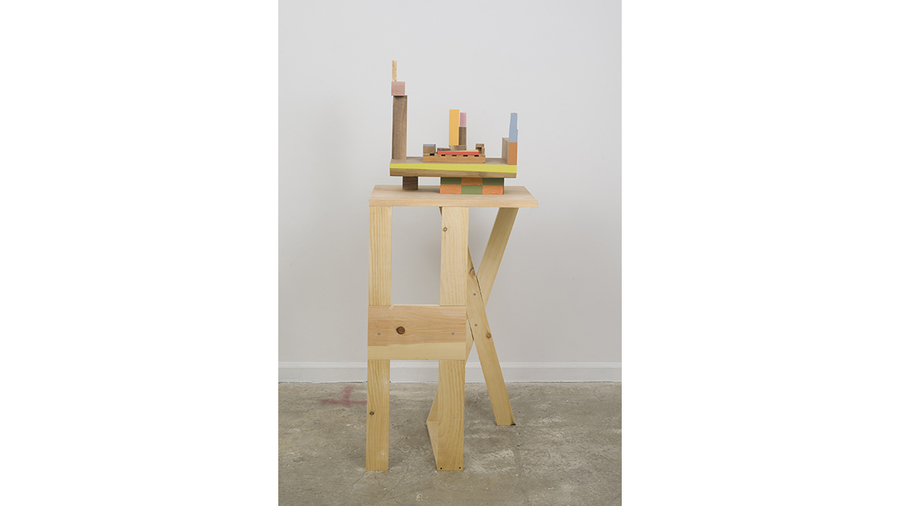 "Jim Osman, ""Deck"", 2018, wood, paint, 20 x 18 1/2 x 10 inches"