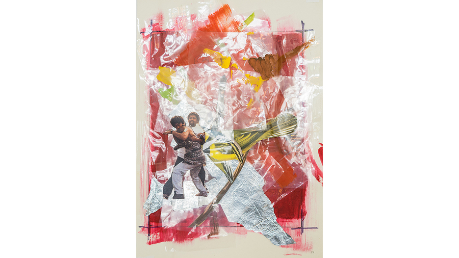 "Delano Dunn, ""How We Do It On Dis Side"", 2018, Paper, poly wrap, acrylic paint and aluminum foil, 8 1/4 x 6 3/4 in."