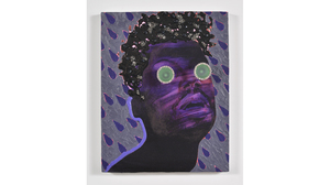 "Devan Shimoyama, ""Purple Storm"", 2016  oil, colored pencil, door knobs on pan.... Image #140"