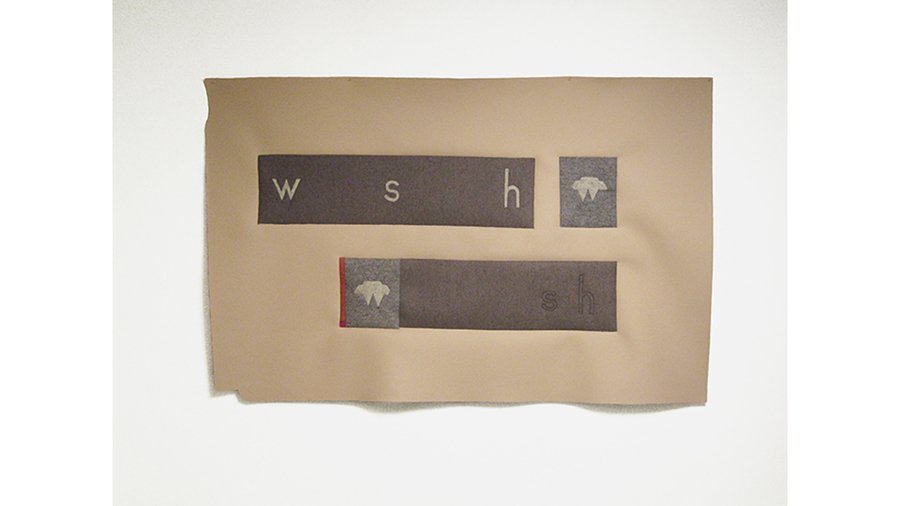 "Cyrilla Mozenter, ""w s h"", 2017, Industrial wool felt hand stitched with silk, 47 1/2 x 74 in."