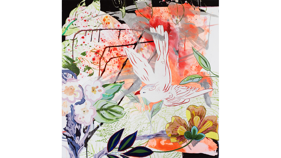 "Elisabeth Condon, ""Birds of Paridise"", 2016  Acrylic, latex, glitter on linen  59 x 59 inches"