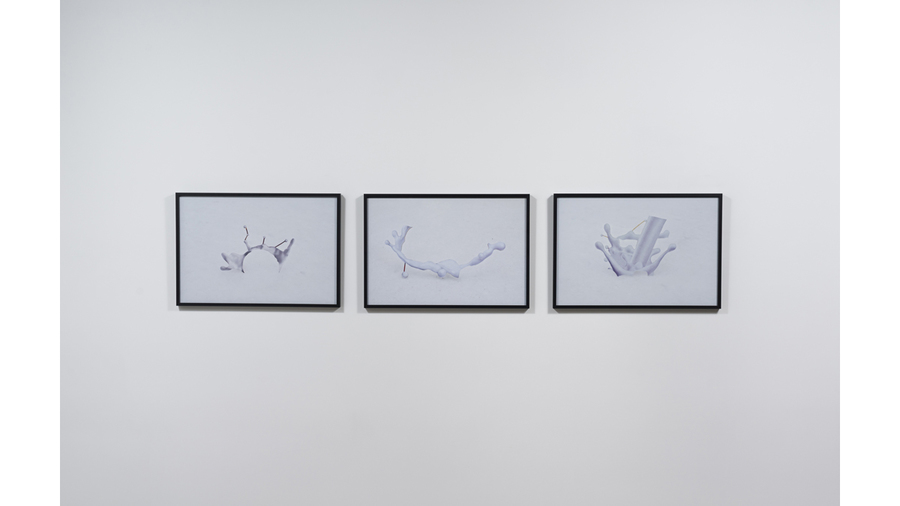 "Magdalen Wong, ""Splash: milk marble"", 2010 Inkjet print - triptych;  edition of 3 + 1 AP (#1) 14 x 20.5 inches each"