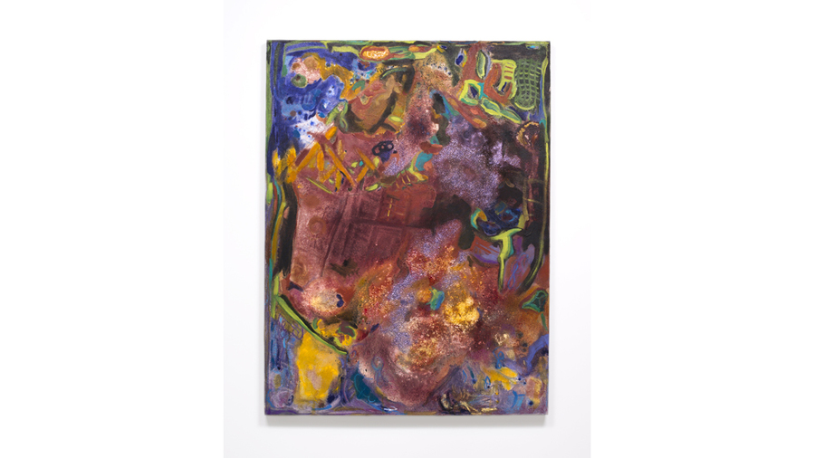 "Zahar Vaks, ""Lavender Dream"", 2015, oil, balsam, turmeric, and fine glitter, on linen, 48 x 36 inches"
