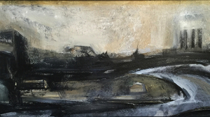 "Roman Turovsky, ""Stadt 24 Pulaski Skyway"", 2011, Oil on wood, 36 x 16 inches. Image #440"