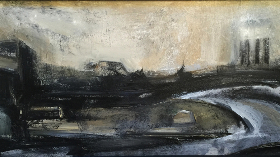 "Roman Turovsky, ""Stadt 24 Pulaski Skyway"", 2011, Oil on wood, 36 x 16 inches"