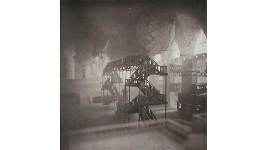 "Lothar Osterburg, ""Zeppelins Docking at Grand Central"", 2013, photogravure with Gampi chine colle on Somerset White, 30 x 30, edition of 12"
