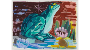 "Judith Linhares, ""Frog"", 2006, framed gouache on paper, 26 x 33.5 inches. Image #639"