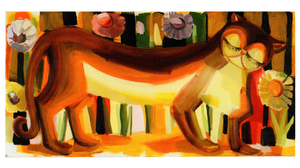 "Judith Linhares, ""Kitty"", 2000, oil on linen, 24 x 48 inches. Image #641"