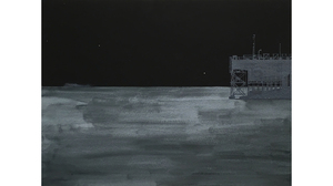 "Donna Dennis, ""Night Ship and Night Dock"", 2016, gouache on paper, 13 x 16 1/8 inches framed"