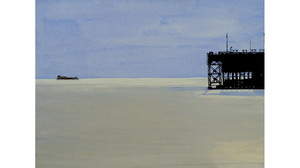 "Donna Dennis, ""Ship and Dock on a Milk Sea"", gouache on paper, 13 x 16 1/8  inches framed"