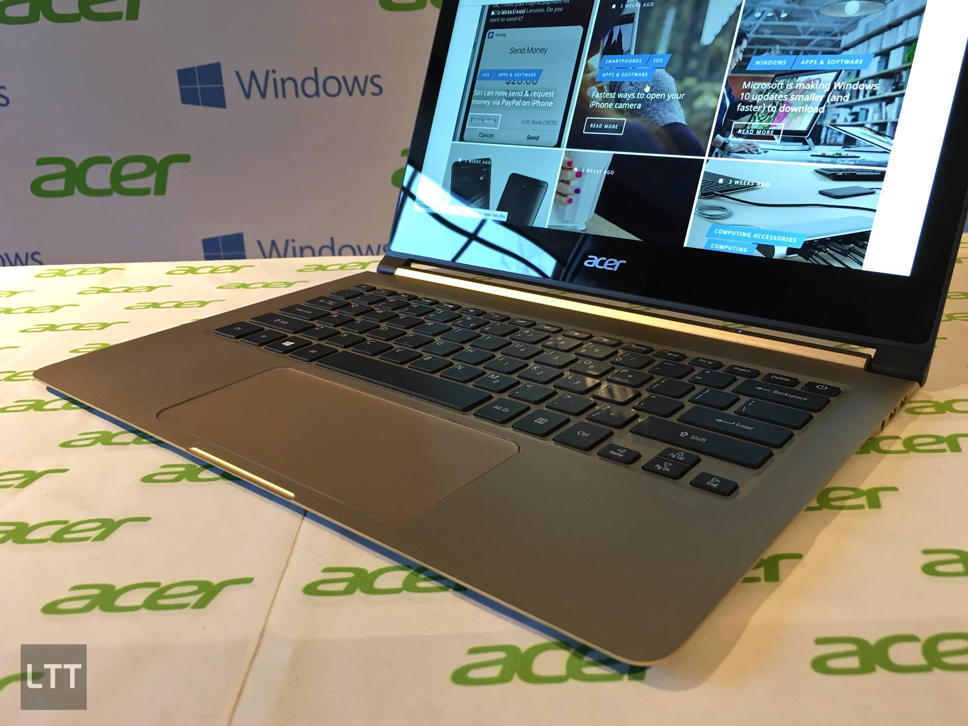 Acer Swift 7's keyboard and trackpad