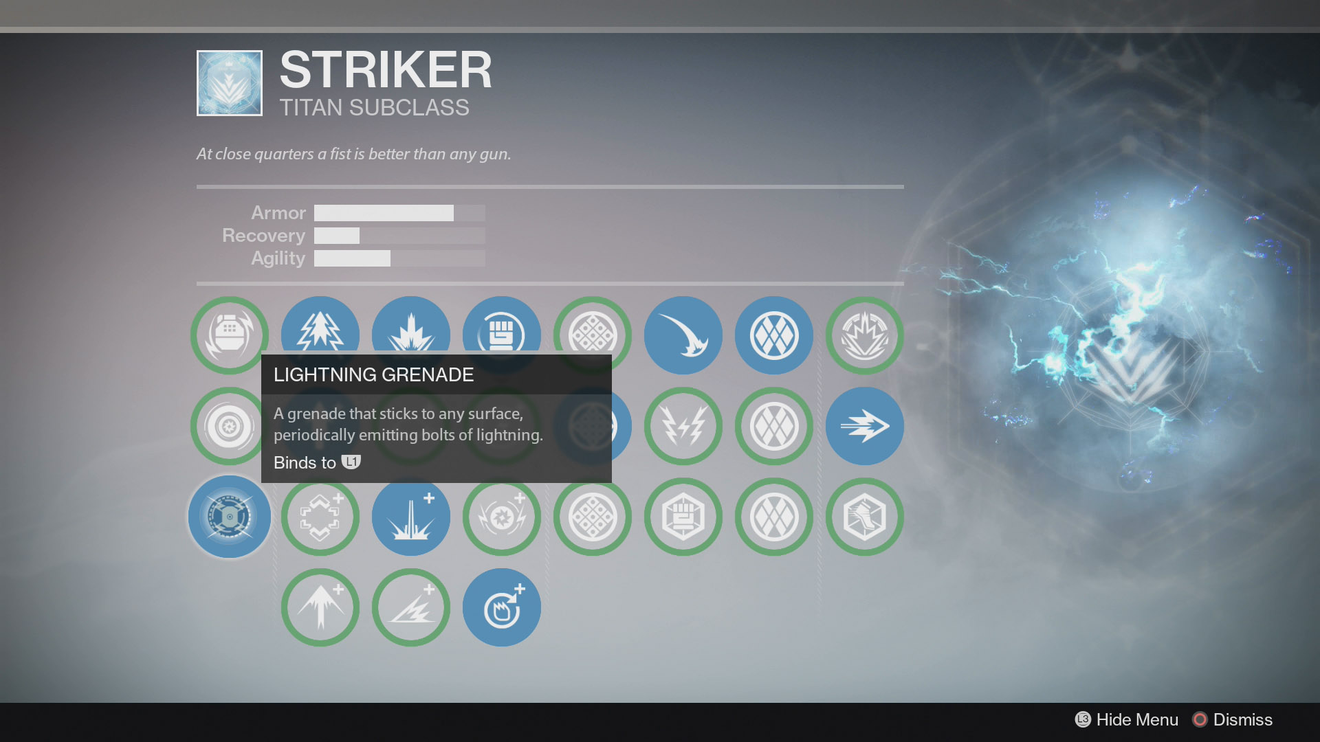Destiny Striker Lightning Grenade