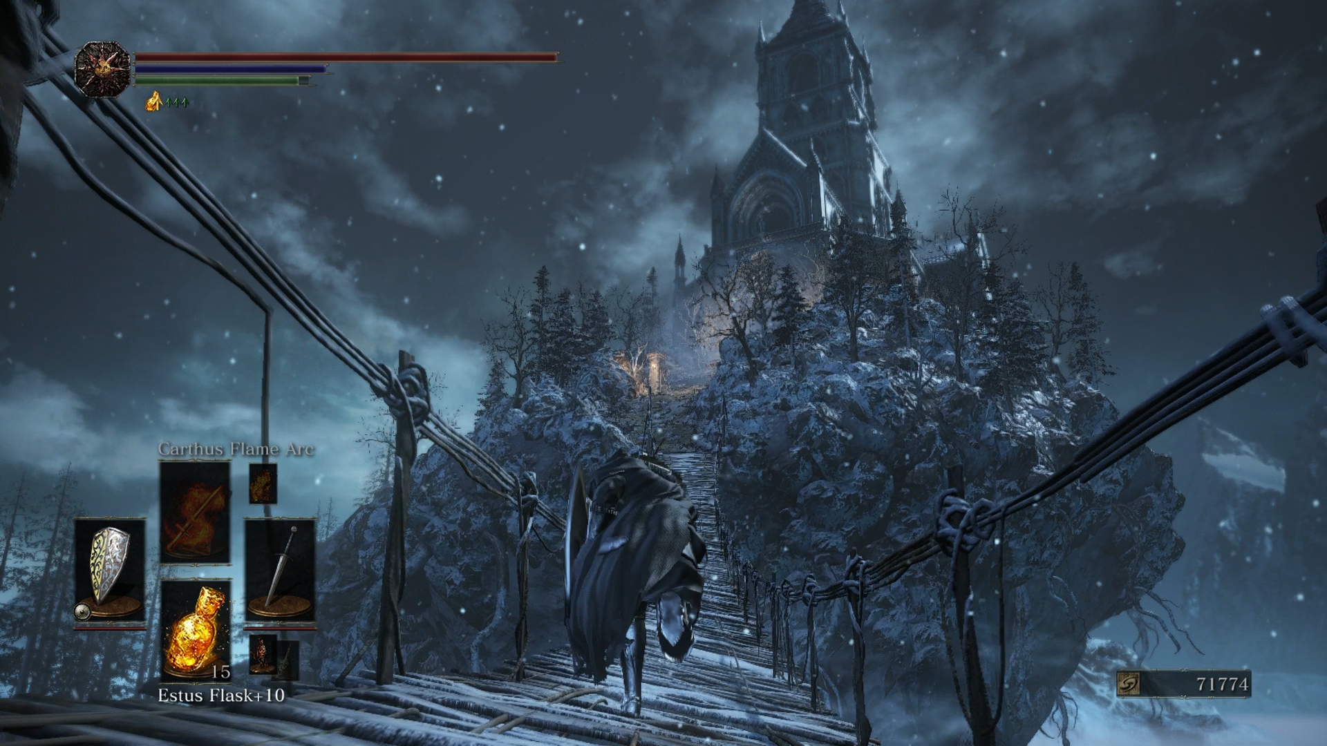 The chapel atop the hill is just one of the many breathtaking set pieces in Ashes of Ariandel