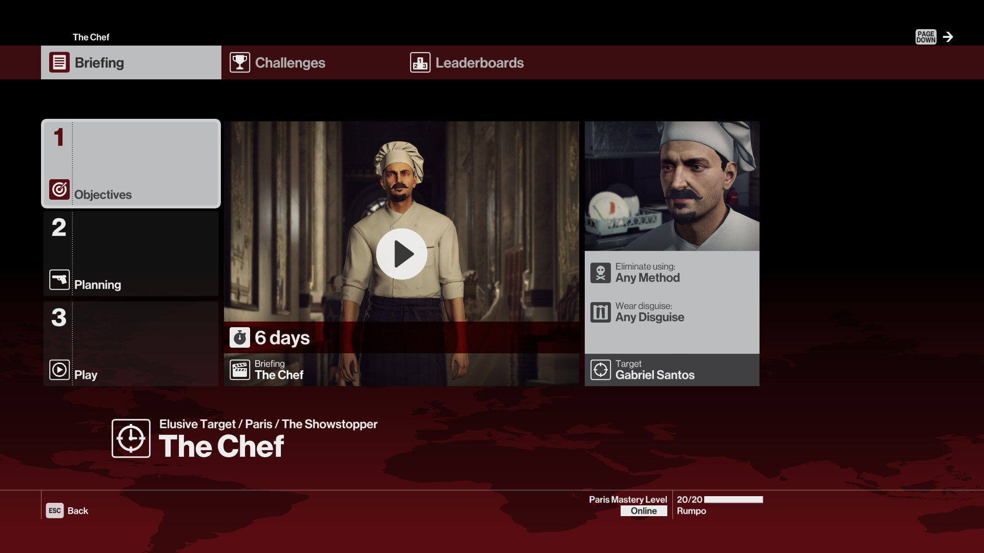 Study the in-game trailer for The Chef carefully to get hints about where you can find him.
