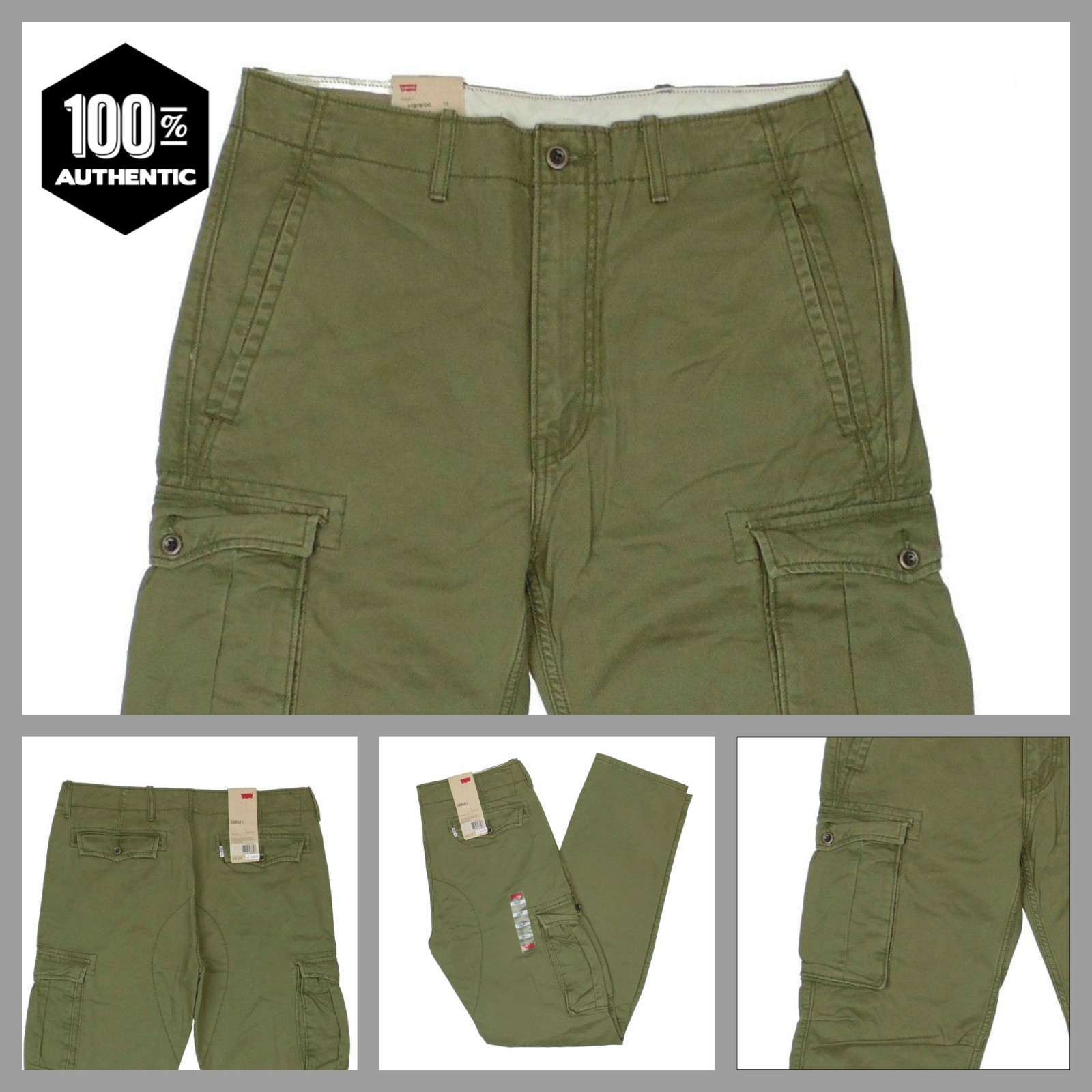 a62b3acb42 Details about Levis Ace Cargo Pants Ivy Green Mens Relaxed Fit 100% Cotton  MANY SIZES NEW