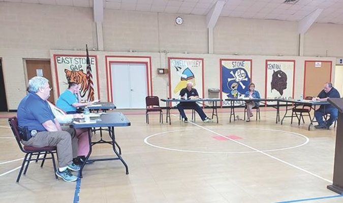 While not everyone wore the face covering required in Gov. Ralph Northam's anti-virus executive order, Big Stone Gap council members practiced social distancing during their June 9 meeting.  TERRAN YOUNG PHOTO