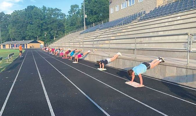 Union's volleyball team participates in socially distanced summer workouts.