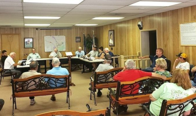 Nearly two dozen citizens turned out for the new Appalachia council's first meeting last week. Notably absent were face masks and social distancing. TERRAN YOUNG PHOTO