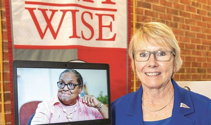 UVA Wise Chancellor Donna Henry was on the scene for last Friday's dedication ceremony, while the honoree, Miriam Morris Fuller, appeared remotely from her home in Missouri.  EARL NEIKIRK PHOTO
