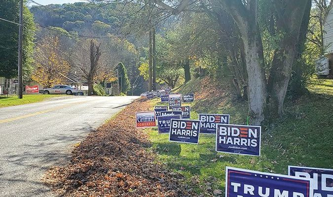 Campaign signs line the route to Big Stone Gap town hall for Tuesday's election.  TERRAN YOUNG PHOTO